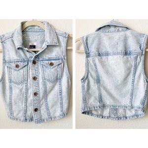 Madewell Distressed Light Denim Jean Vest XS